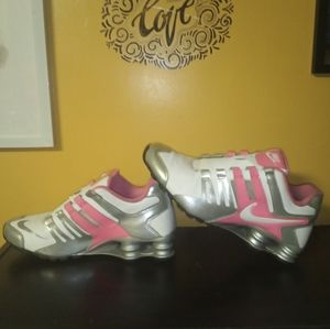Pink Silver and White Nike Shox